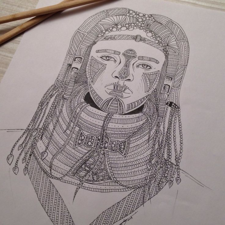 My drawing, Tribal 009, portrait of a girl. You like my picture ?