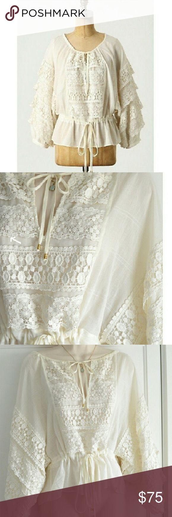 NWT Anthropologie Lace Blouse Brand new with tags, Leifsdottir cream lace blouse. Retails for $258! So gorgeous Anthropologie Tops