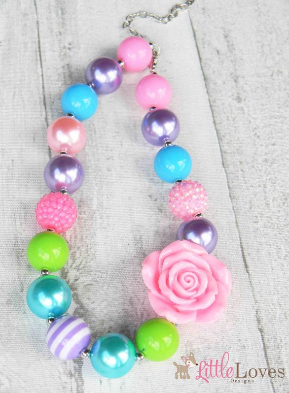 Childrens Necklace- Girls Chunky Necklace- Girls Bubblegum Chunky Necklace- Girls Bubble Gum Bead Necklace on Etsy, $9.95