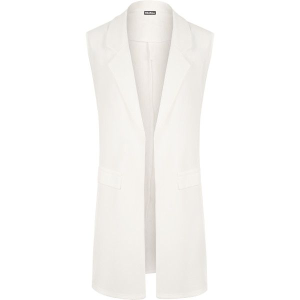 WearAll Plus Size Faux Pocket Waistcoat ($28) ❤ liked on Polyvore featuring outerwear, vests, cream, waistcoat vest, white waistcoat, lapel vest, white vest and sleeveless waistcoat