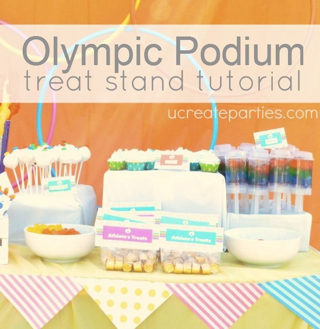 Too bad I didnt see these ideas before my party! olympic party treat stand