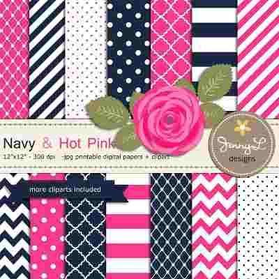 Kits Fondos Papeles Diseños Digital Navy & Hot Pink - $ 10,00 en MercadoLibre