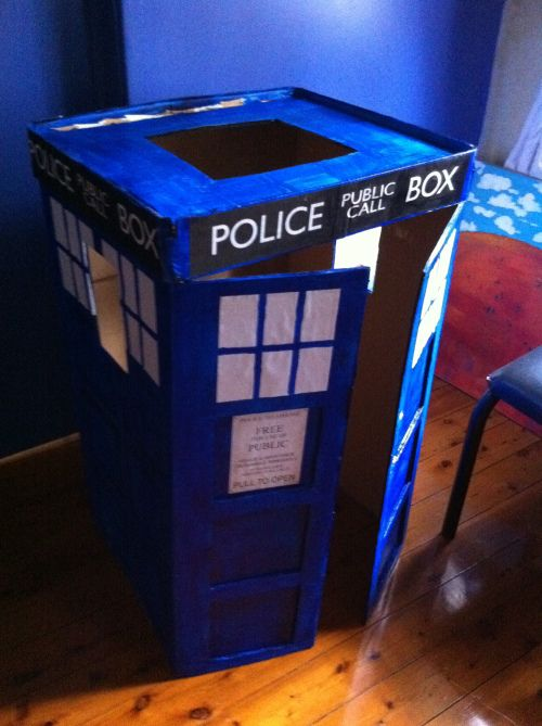 DIY TARDIS costume- Could also work for a bookshelf!