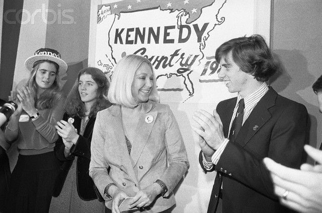 Joan Kennedy (C) wife of Sen. Edward M. Kennedy smiles as she receives applause after speaking at the opening of Kennedy headquarters in Boston. Left to right: Sydney Lawford, Caroline Kennedy, and Michael Kennedy. Date Photographed:29 November 1979
