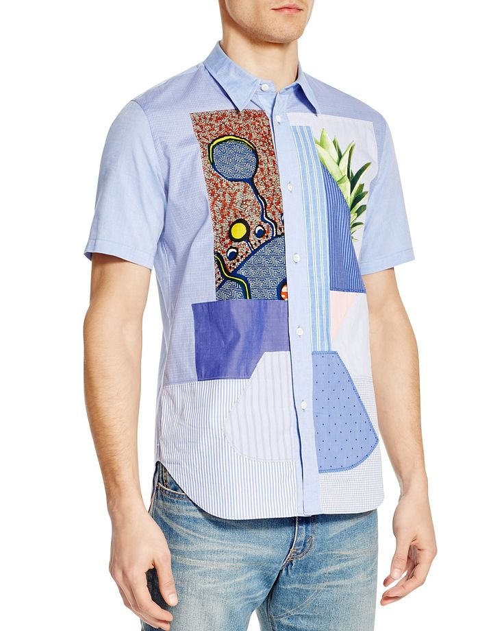 A one-of-a-kind design adds style and character to this handsome. T ShirtPatchworkButton  Down ...