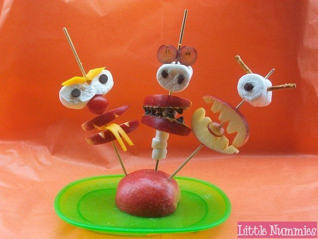 Kids Snack: Apple Monsters on a Stick by Little Nummies