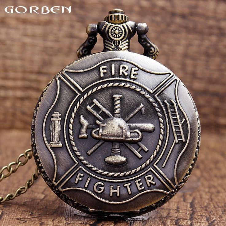 Unique Bronze Fire Fighter Control Quartz Pocket Watch Necklace Pendant relogio de bo