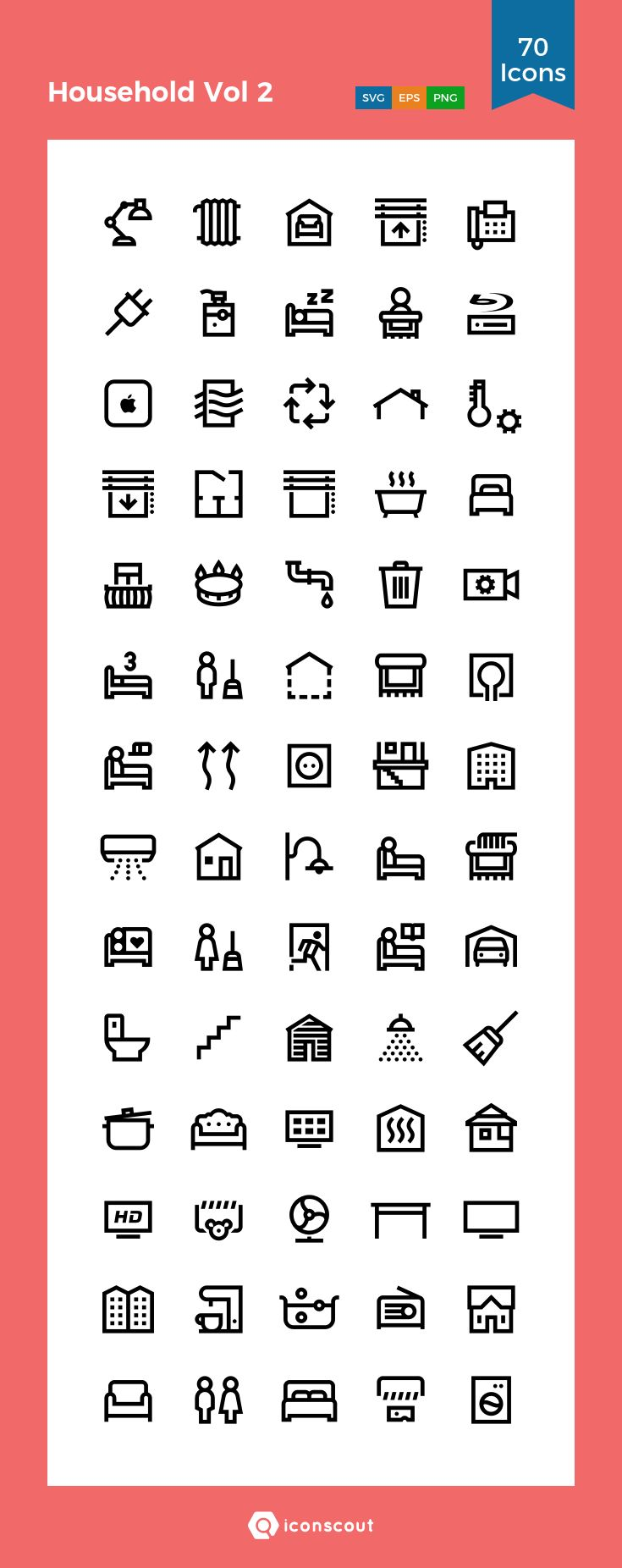 Household Vol 2  Icon Pack - 70 Line Icons