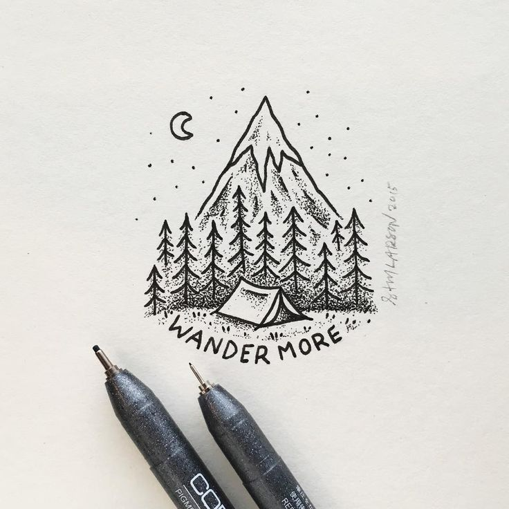 I love this artstyle, great tattoo for camping, hiking, and adventure