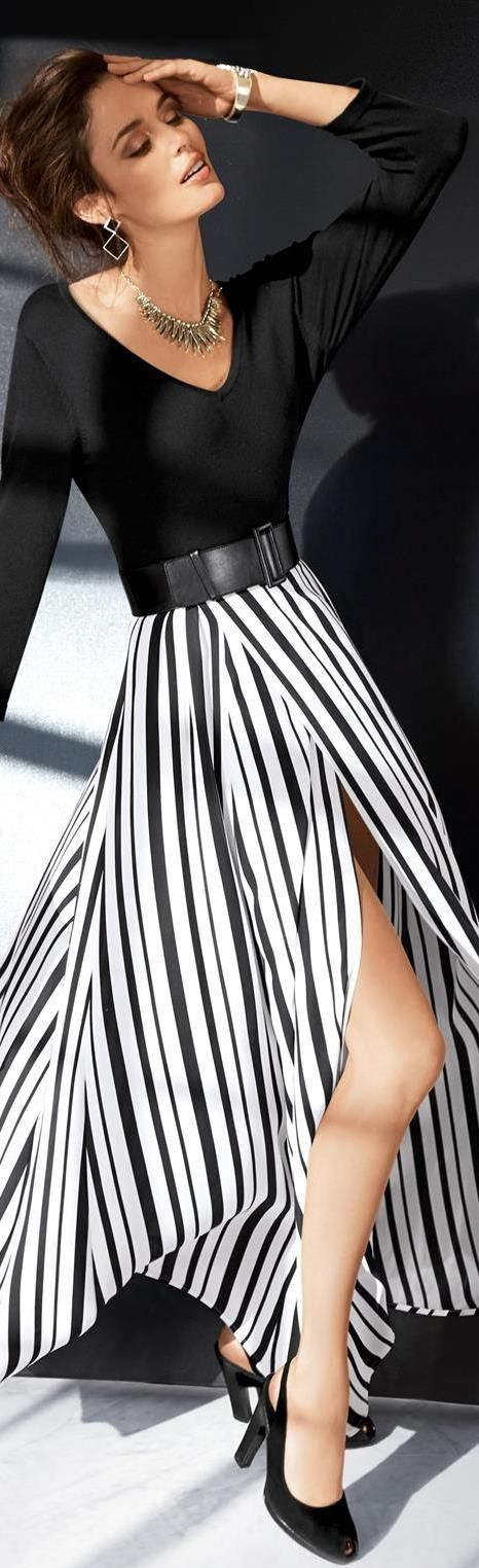 #Stripes #Creaseless #Skirts #Fashion #Monochrome #Accessories #Black n #White #Insprations