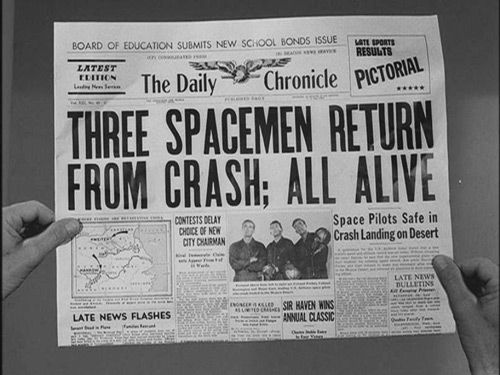 """Three astronauts, on a mission in space, crash land in the desert ~ only none of them are able to remember what happened on their flight in """"And When the Sky Was Opened'' (The Twilight Zone, S1/E11: directed by Douglas Heyes, written by Rod Serling, based on a short story by Richard Matheson), starring Rod Taylor, Jim Hutton, and Charles Aidman."""