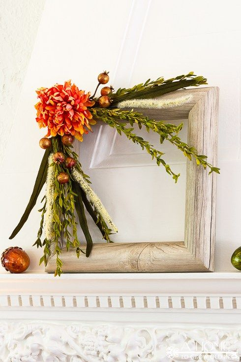a square shaped fall wreath using a pool noodle and contact paper!