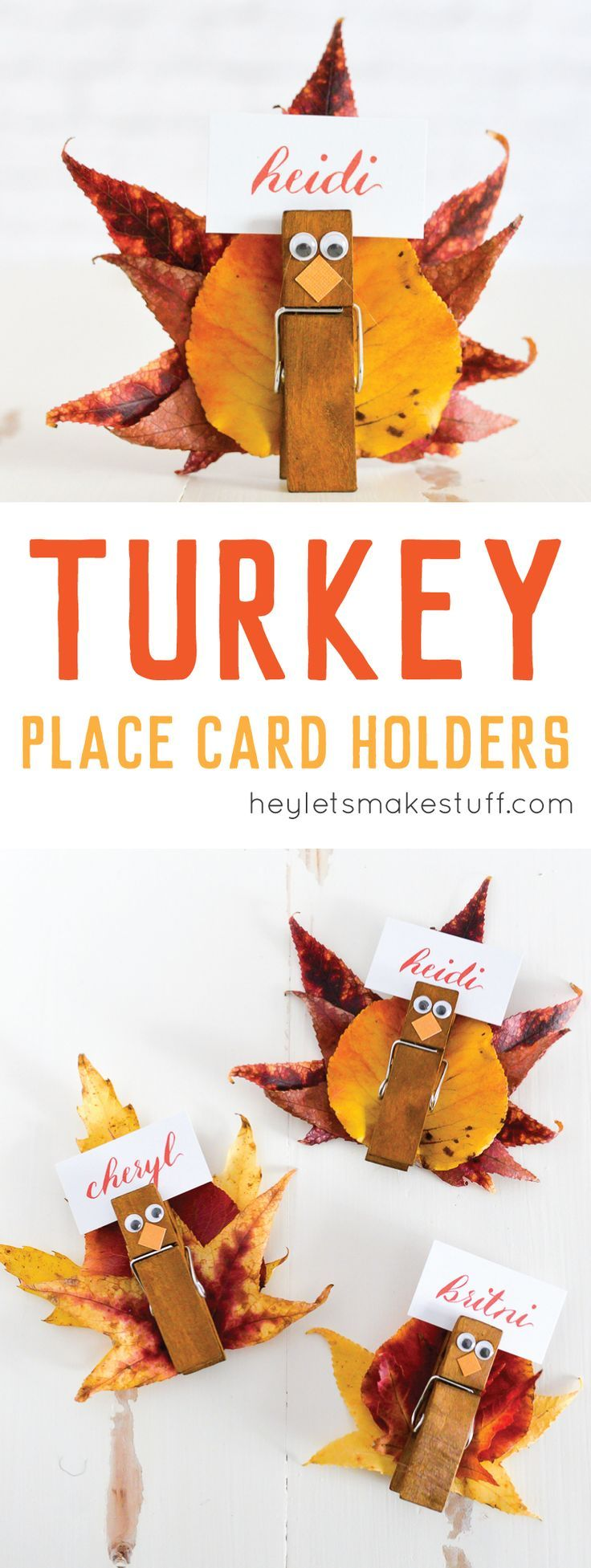 These easy turkey place card holders are super simple to make -- gather fall leaves and attach them to a clothespin with eyes and beak to make a Thanksgiving place card everyone will love. {sponsored}