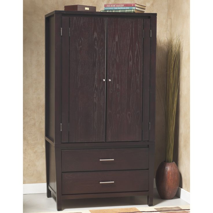 Modus Nevis Armoire - The gorgeous Modus Nevis Charging Station Armoire is constructed with tropical mahogany and a variety of beautiful veneers finished in dark espresso....