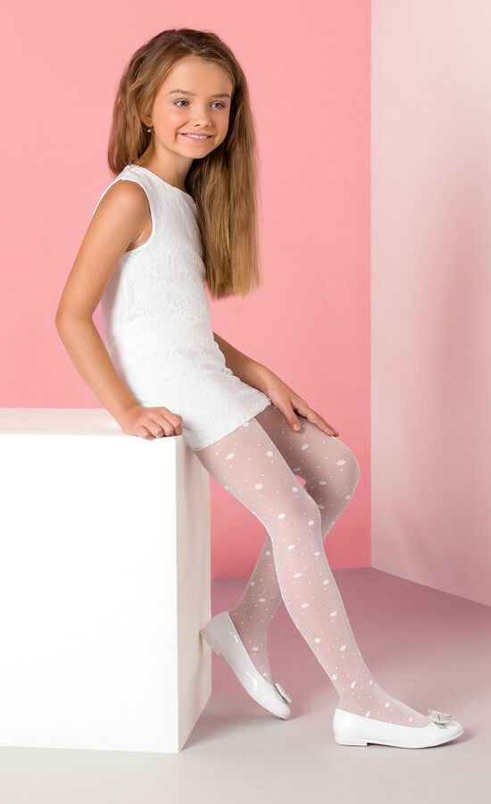 22a3bd03b55 Girls Tights Hosiery Kids White Patterned LIZA Pantyhose by Gabriella 4-12  years Kids White Hosiery