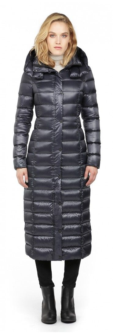 LYRA | MIDNIGHT LONG LIGHT DOWN COAT WITH LARGE HOOD | SOIA & KYO