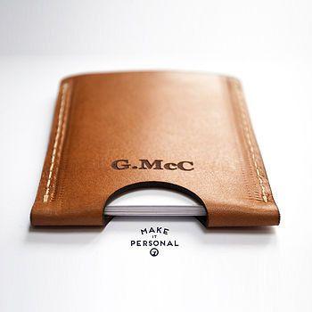 Leder-Kartenhalter / Brieftasche handgefertigt von Premium Tuscan Vegetable gegerbtes Naturleder