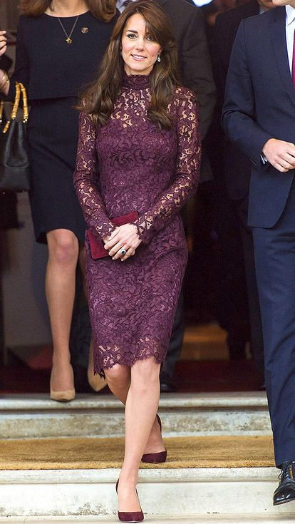 Kate Middleton in a purple lace Dolce & Gabbana dress More
