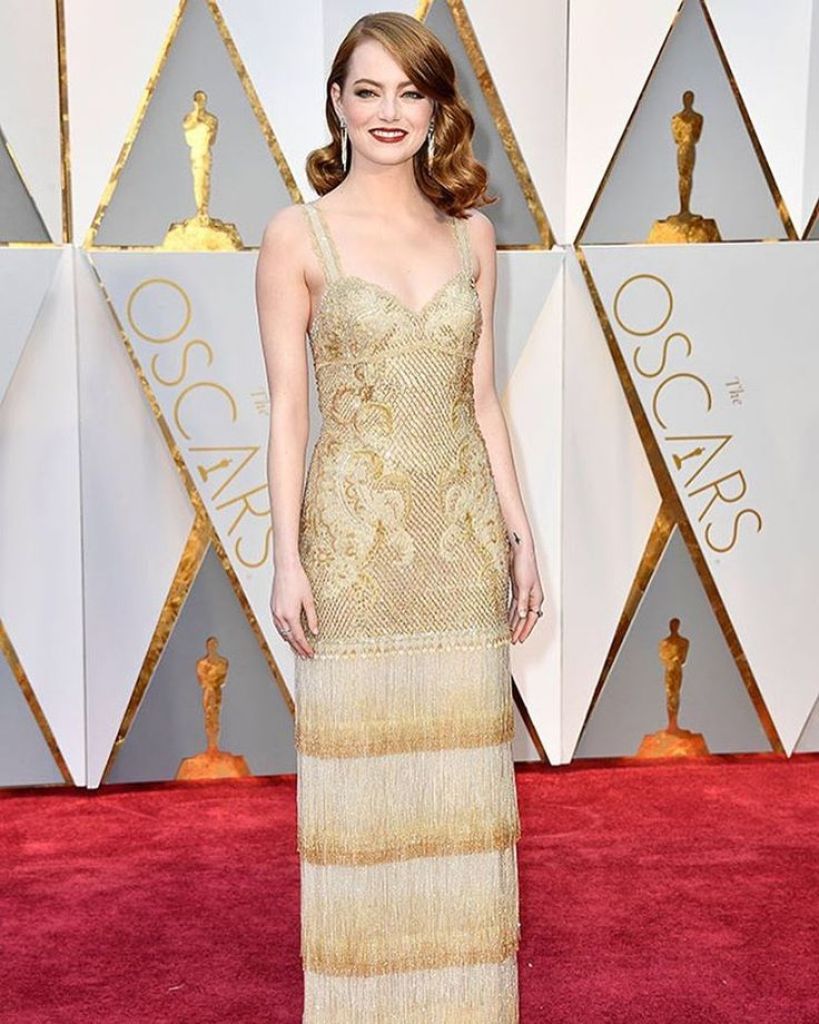 Best Oscar Dresses 2017 | #EmmaStone is golden in @givenchyofficial at the #Oscars ✨ (Photo credit: Frazer Harrison/Getty Images)