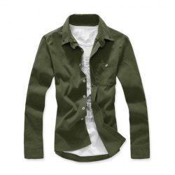 $7.46 Refreshing Shirt Collar Multi-Color One Pocket Long Sleeves Corduroy Shirt For Men