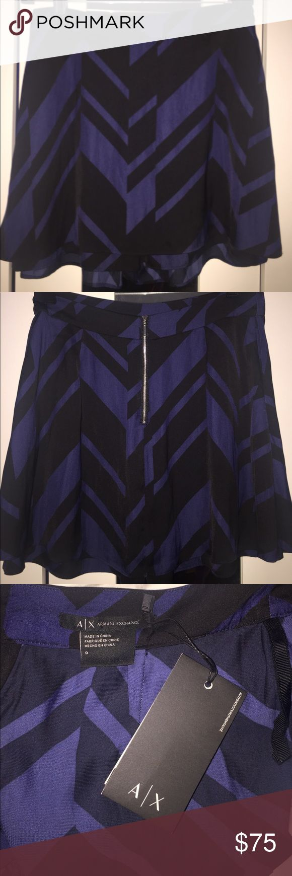 NWT- Armani Exchange Silk Blue/Black Skort!! Brand new, never worn! Super cute Armani Exchange blue/black silk skort (skirt with shorts under)! Original tags attached, with certificate of authenticity (pictured). Fun and flirty skirt perfect for summer!! A/X Armani Exchange Skirts