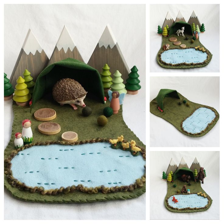Welcome to the Forest! Will a bear hibernate in the cave? Will a fairy hide treasure there? Will a gnome make the cave his home? The play possibilities are endless! This wool felt play mat is hand-stitched and measures approximately eighteen inches long. Small parts Not intended for children under the age of three Spot clean only accessories not included