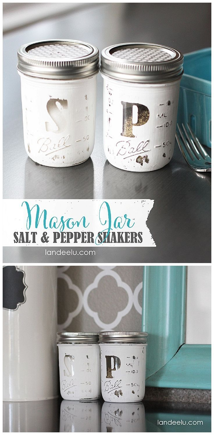 DIY Mason Jar Salt and Pepper Shakers - what a cute gift idea! & 364 best Mason Jar Decorating Ideas images on Pinterest | Jars ...