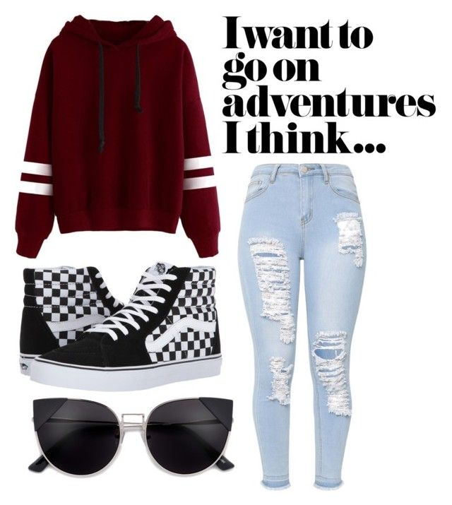"""""""Travel happy"""" by danickaroetz on Polyvore featuring Vans, travel, comfy, rippedjeans and RedHoodie"""