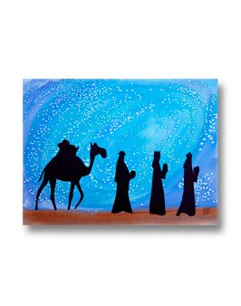 Three Kings Art = could do nativity; just takes watercolors, salt, and black cutouts and glue