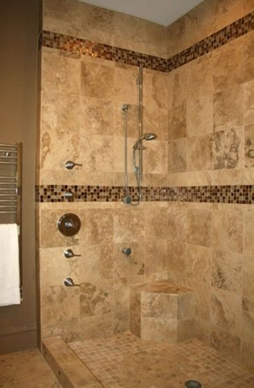Nice use of mosaic accent tiles in a smilar color scheme...