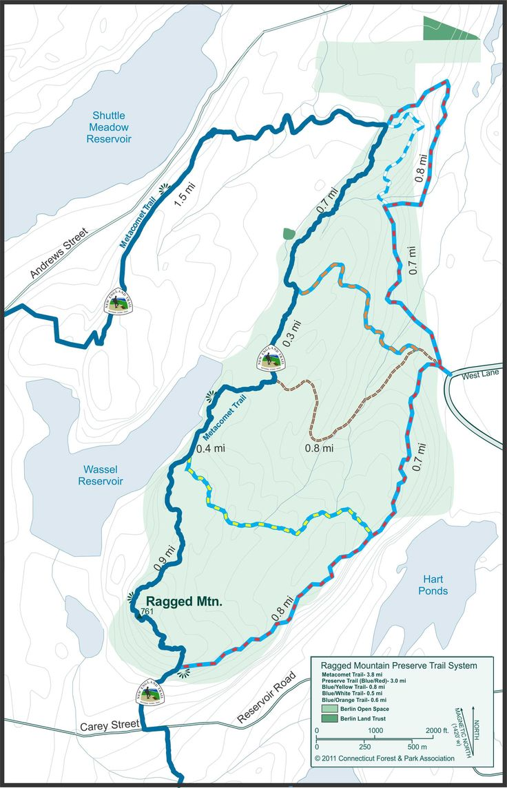 Ragged Mt. Trail Map | Metacomet Trail, Ragged Mountain ...