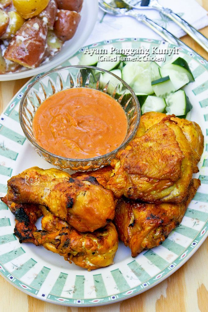 Simple yet tasty and aromatic Ayam Panggang Kunyit (Grilled Turmeric Chicken) using ground or fresh turmeric. Only 5 ingredients required.   RotiNRice.com