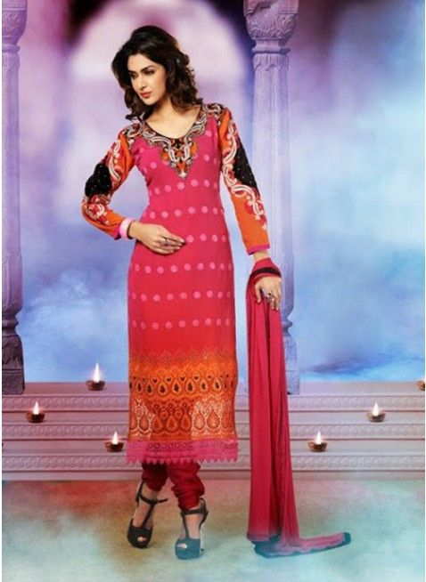 Beautifully Pink and orange ombrey #pakistani_suit with heavy neck nd sleeves