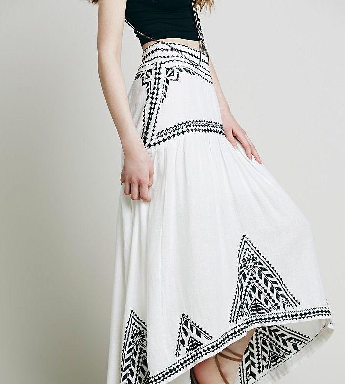 Embroidered Hi-Lo Skirt