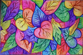 Overplapping Rainbow Leaves - Color leaves, water wash, outline with colored pencils