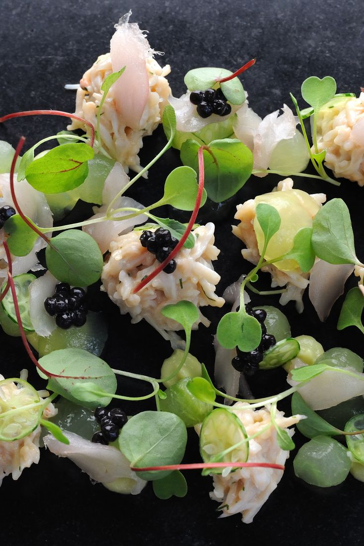 Crab salad is an excellent way to enjoy a taste of the sea, and Adam Simmonds' crab salad recipe is particularly fantastic with its combination of mackerel tartare, fresh cucumber and ripe avocado. Agar agar is vegetarian gelatine, and is available to buy online.