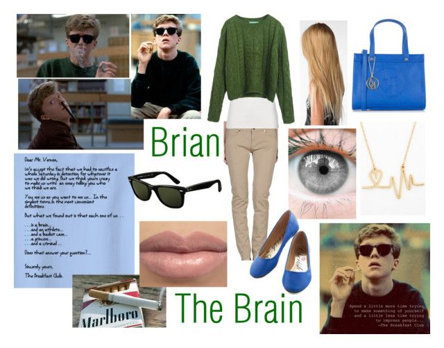 """""""The Breakfast Club: The Brain (Brian Johnson)"""" by fabulouslynerdy ❤ liked on Polyvore featuring Twin-Set, Polo Ralph Lauren, Clip Scene, Armani Jeans, Ray-Ban, brain, thebreakfastclub, Brian, thebratpack and anthonymichaelhall"""