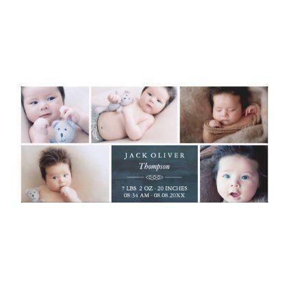 #elegant - #Navy Blue & White Photo Collage Baby Canvas Print