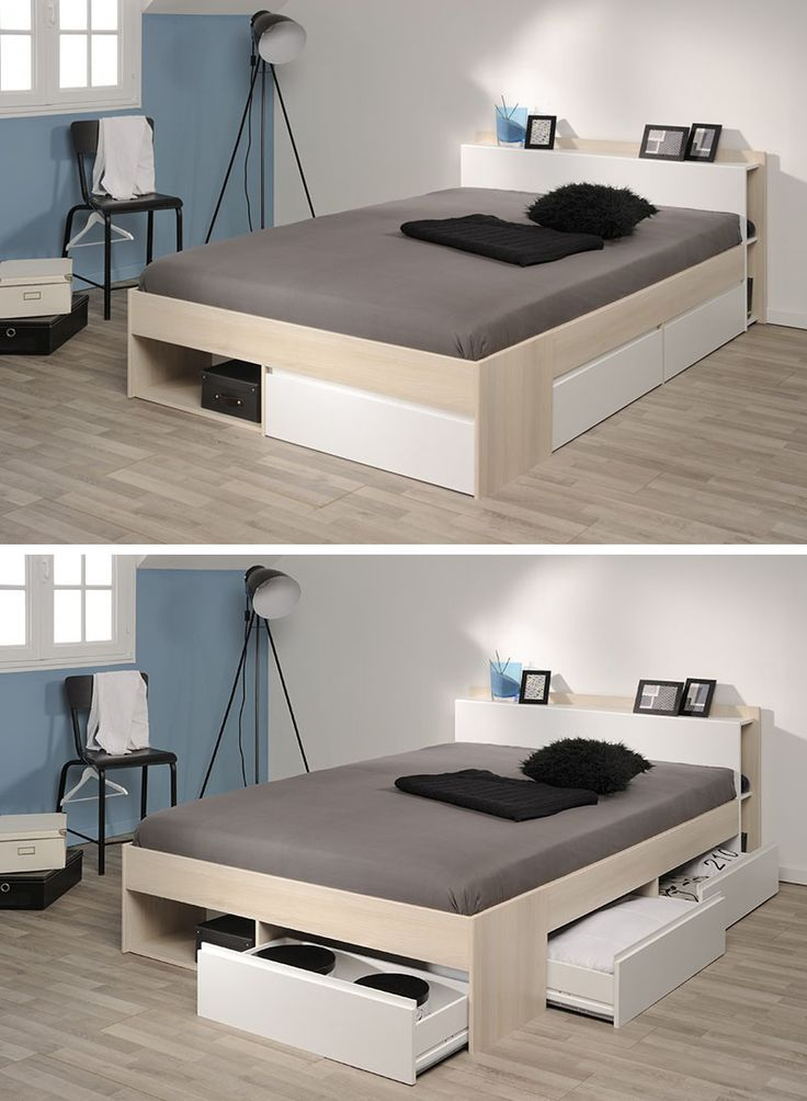 Low Bed With Storage Part - 18: 9 Ideas For Under-The-Bed Storage // This Bed By Parisot Has Drawers Built  Into It, As Well As A Low Headboard With Storage Compartments Along The  Sides To ...