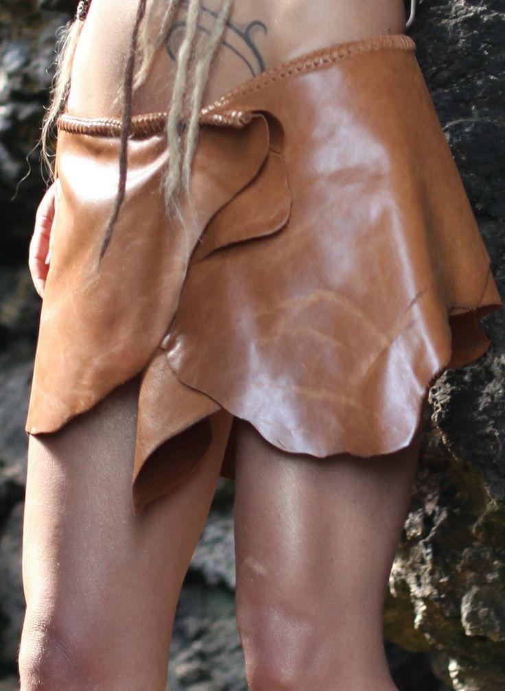 Antique Tan Leather Belt Skirt