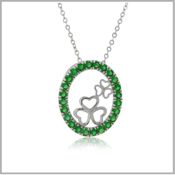 """This Erin Go Bragh necklace is a true Irish charmer. The meaning of phrase Erin Go Bragh comes from a Gaelic saying to pledge allegiance to Ireland. The most common modern translation is """"Ireland Forever"""". The combination of the green in the emerald cz representing the """"Emerald Isle"""" with the shamrocks, the symbol of Ireland just screams """"Ireland Forever"""". You'll be the envy of every Irish lass!"""