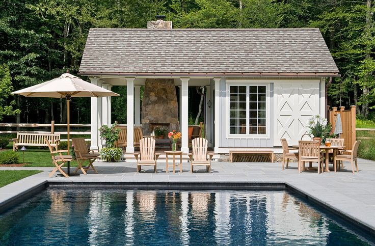 Chic Highland House Furniture method New York Farmhouse Pool Innovative Designs with accent pillow Adirondack chairs colorful pillows country home exterior cushio exterior pillow farmhouse fieldstone