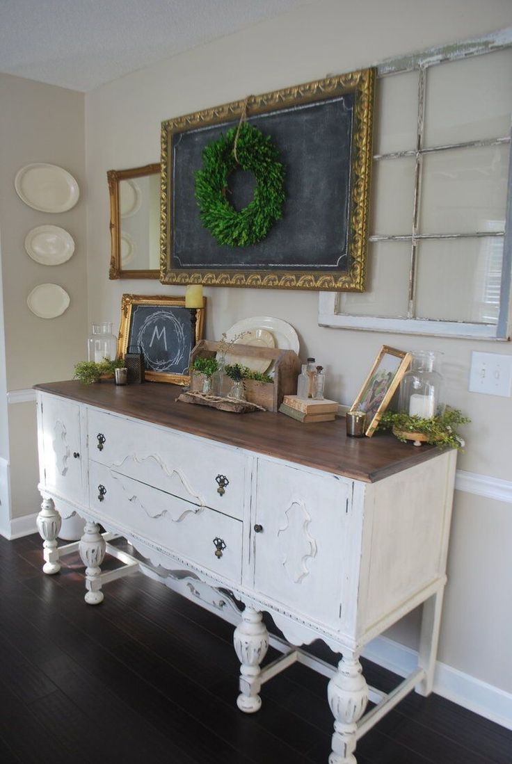 Farmhouse Dining Room With White Buffet By Plum Pretty Decor And Design