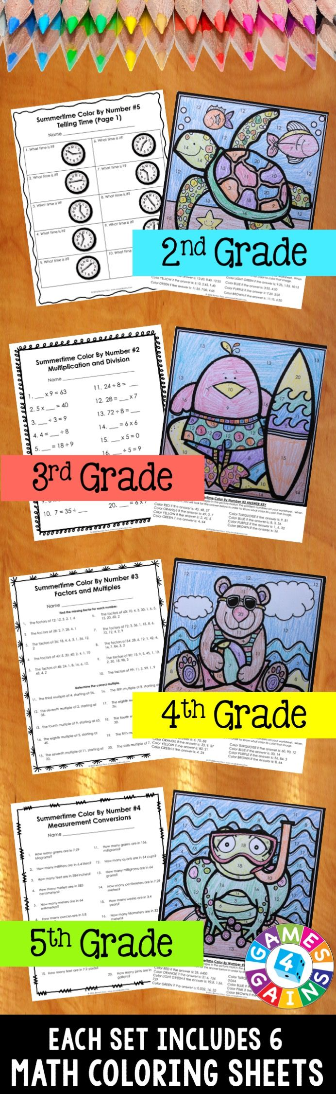 "These Summer Math Color-by-Number activities are the perfect way to review key math skills this month! As one teacher said, ""So much better than traditional color by number! I love the application of other skills and the problem solving that is included!"" Different sets available for 2nd, 3rd, 4th, or 5th grade."