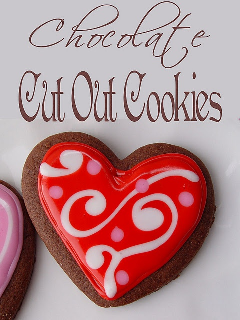 Chocolate Cut Out Cookies with Glaze Icing. Yummy and Cute. These look pretty simple and pretty to look at.