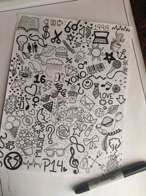 doodle, black, and drawing image