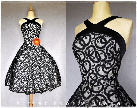 1950's Black illusion Lace Dress
