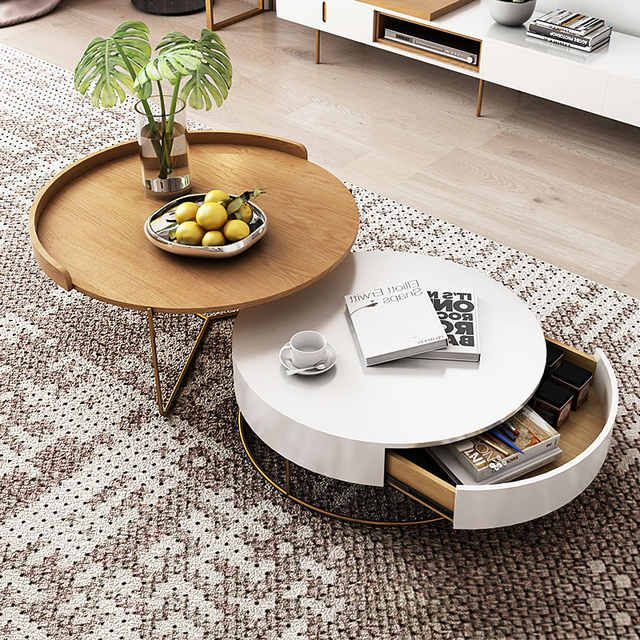 Wholesale Luxury White Movable Tv Stand And Round Coffee Table Combination Nordic Minimalist Living R Living Room Coffee Table Coffee Table Coffee Table Design