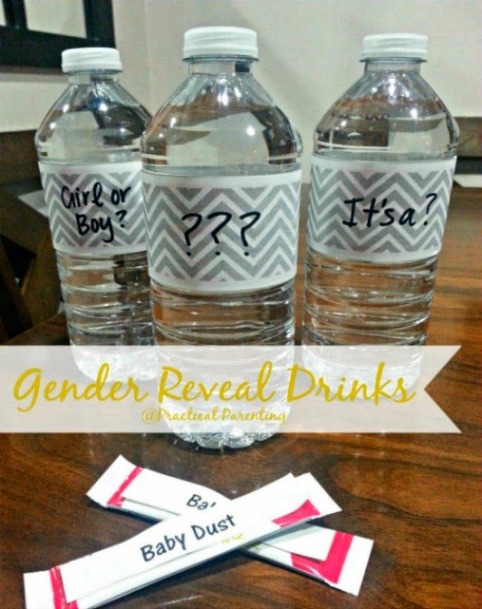 Gender Reveal Party Drinks - What a fun idea for family and friends gender reveal! | Gender Reveal | Gender Reveal Ideas | Gender Reveal Party |