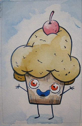 """Muffin 4"""" x 6"""" Watercolour on Paper, Justin Lee Visit our website www.argylefineart.com for more information on this piece, and the artist :)"""